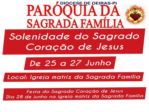 Paróquia da Sagrada Família convida para solenidade do Sagrado Coração de Jesus