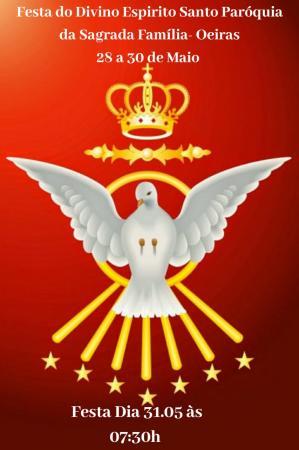Paróquia da Sagrada Família, inicia tríduo em louvor ao Divino Espírito Santo.