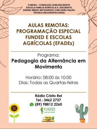Com início nesta quarta-feira (10) EFADE's Lançam programa de rádio: Pedagogia da Alternância em movimento